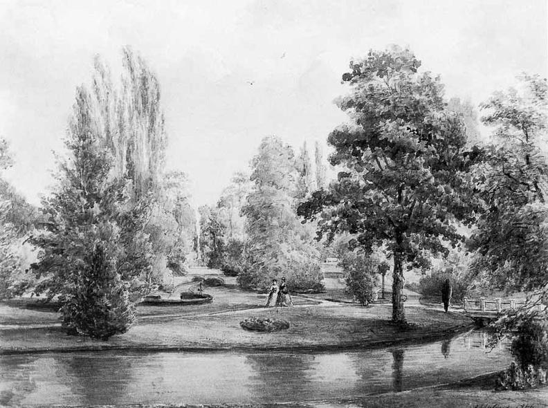 Queekhoven - park - tekening door PJ Lutgers uit 1866 - GE4