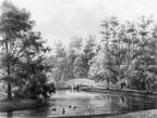 Queekhoven - park oostzijde huis - tekening door PJ Lutgers uit 1866 - GE4