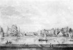 Vreeland Slotzigt - met koepel en koetshuis - tekening door PJ Lutgers uit 1834 - GE4-8