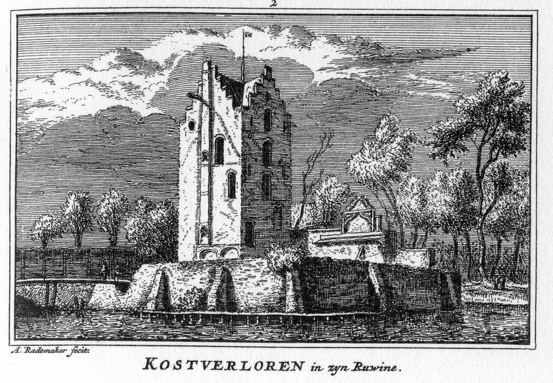Amstelveen Kostverloren - ruine - gravure A Rademaker, 1650 - KA4