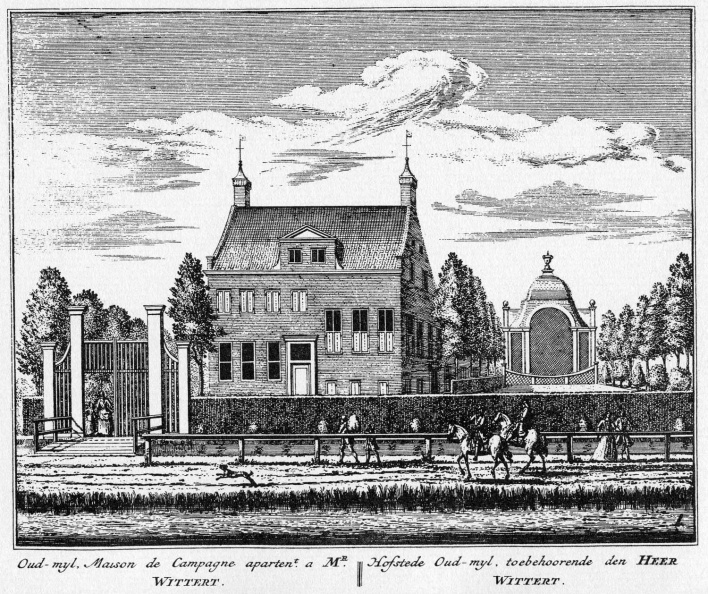 Amstelveen Oudmijl - ets Abraham Rademaker, 1730 - HOL1