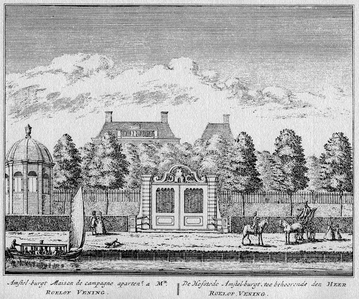 Amsterdam Amstelburgt - ets Abraham Rademaker, 1730 - HOL1