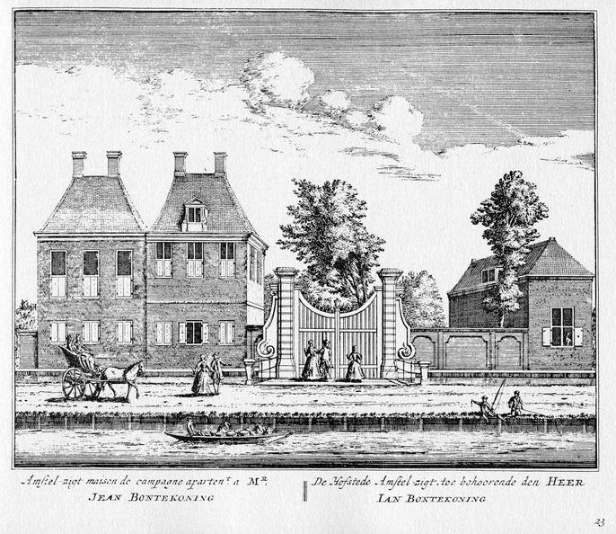 Amsterdam Amstelzicht - ets Abraham Rademaker, 1730 - HOL1