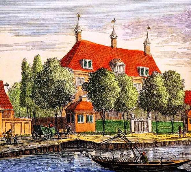 Amsterdam Brandwijk - ets Abraham Rademaker, 1730 - kleur