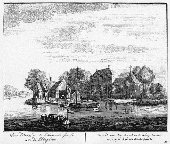 Amsterdam Omval - ets Abraham Rademaker, 1730 - 01 - HOL1