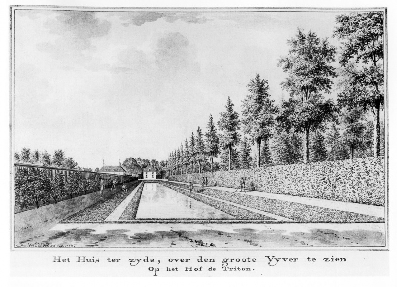 Koudekerke Triton - grote vijver - tekening Jan Arends 1772- HET01