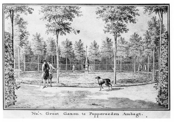 Middelburg Poppenroede Ambacht - grote gazon - tekening Jan Arends 1776 - HET01