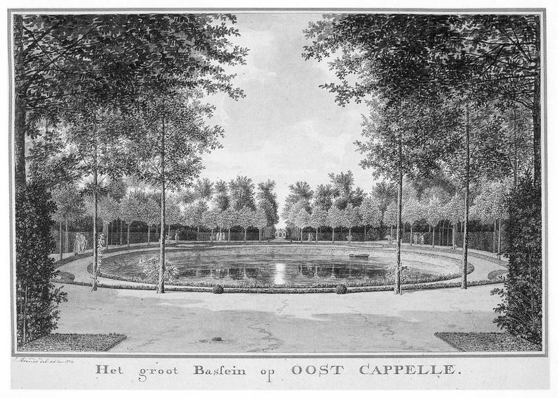 Oostkapelle - grote vijver - tekening Jan Arends 1772 - HET01