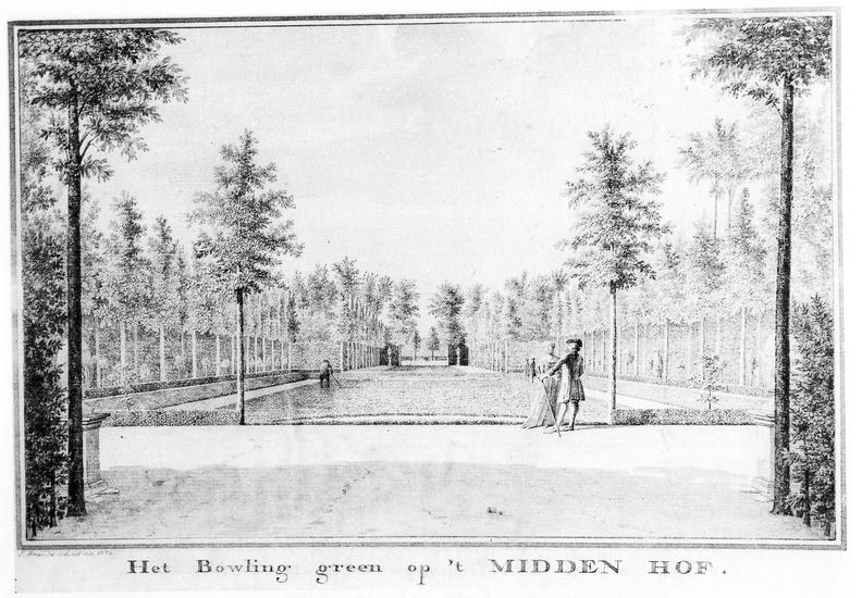 Oostkapelle Middenhof - Bowling green - tekening Jan Arends 1772 - HET01