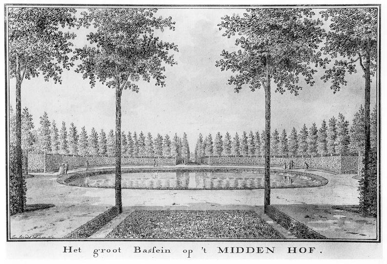 Oostkapelle Middenhof - grote vijver - tekening Jan Arends 1772 - HET01