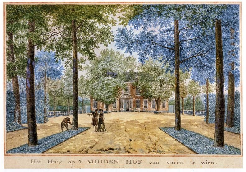 Oostkapelle Middenhof - voorzijde - tekening Jan Arends 1772 - HET01