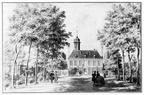 Oostkapelle Rijnsburg - voorzijde - tekening C Pronk, ca 1743 - JAN01