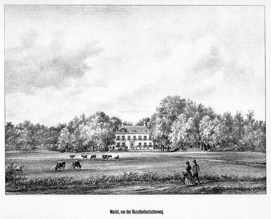 DenHaag Marlot - gezicht - gravure P.J.Lutgers, ca 1856 - GEZ1