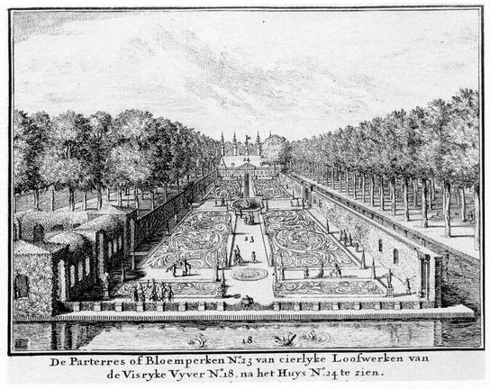 DenHaag Zorgvliet - Den Haag - gravure door J van den Aveelen, ca 1700 - BU3