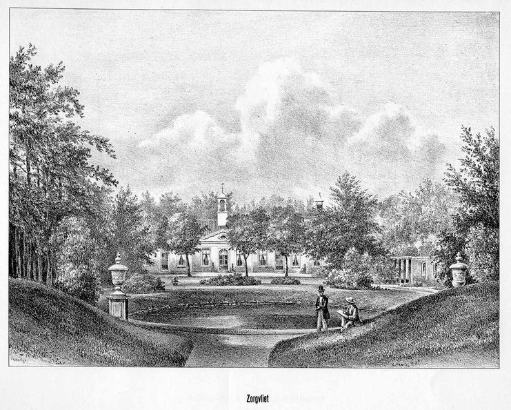 DenHaag Zorgvliet - gravure P.J.Lutgers, ca 1856 - GEZ1