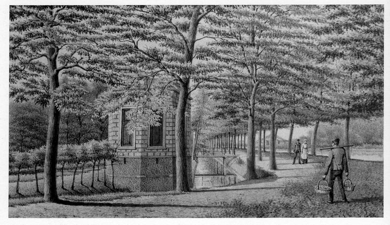 Leiden Groenhoven - theekoepel - tekening JMA Rieke, 1897 - DE5