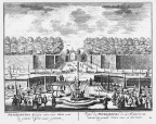 Petersburg - grote vijver - gravure A Rademaker ca 1791 - DE2