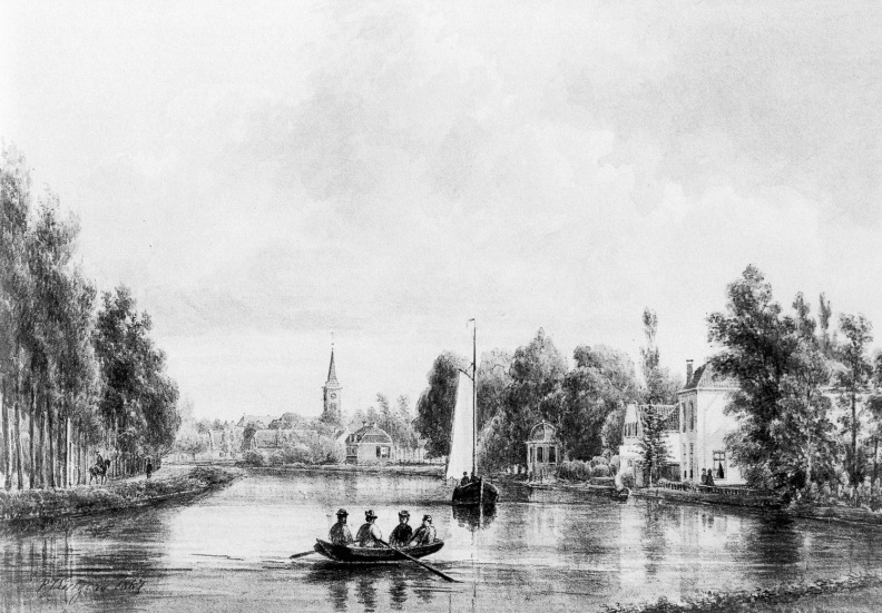 Breukelen Vechtstroom - links naast Nieuw Hoogerlust - tekening  door PJ Lutgers uit 1867 - GE4